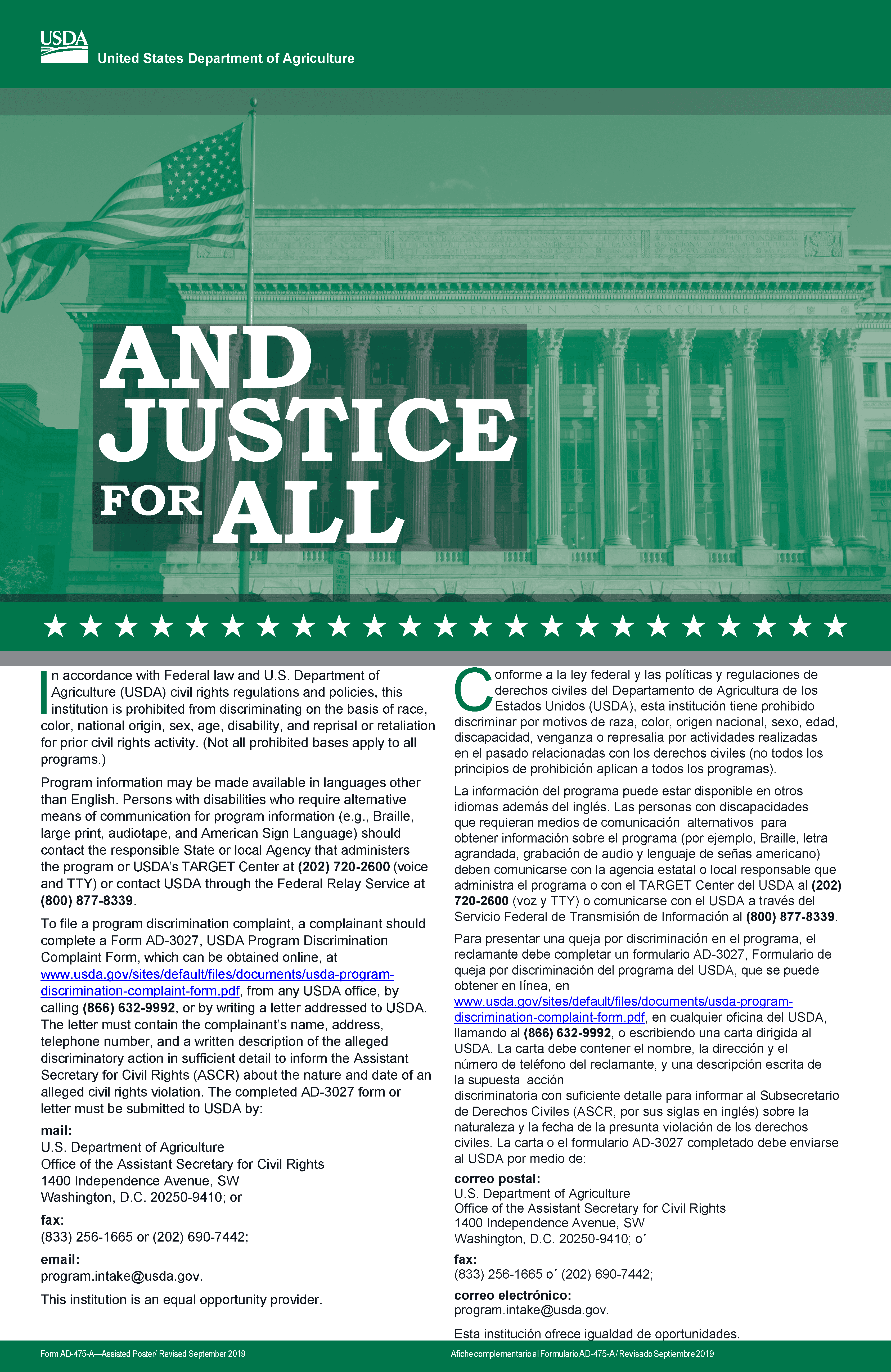 And Justice for All flyer